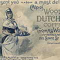 Maid Serving Coffee Advertisement For Woods Duchess Coffee Boston  by American School