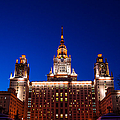 Main Building Of Moscow State University At Winter Evening - 5 by Alexander Senin