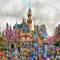 Main Street Sleeping Beauty Castle Disneyland Photo Art 02 by Thomas Woolworth