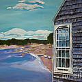 Maine Boathouse - Seashore - Blue  by Jan Dappen