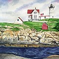 Maine Lighthouse Watercolor by Michelle Constantine