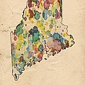 Maine Map Vintage Watercolor by Florian Rodarte