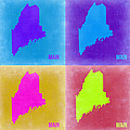 Maine Pop Art Map 2 by Naxart Studio