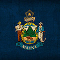 Maine State Flag Art On Worn Canvas by Design Turnpike