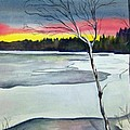 Maine Winter Sunset by Brenda Owen