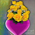 Majenta Heart Vase With Yellow Roses by Marvin Blaine