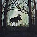 Majestic Bull Moose by Leslie Allen
