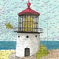 Makapuu Lighthouse Oahu Hi Nautical Chart Map Art by Cathy Peek