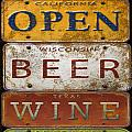 Bar Open-license Plate Art  by Jean Plout