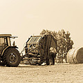 Farm - Tractor - Hay - Making The Drop by Barry Jones