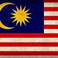 Malaysia Flag Vintage Distressed Finish by Design Turnpike