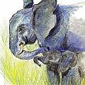 Mama Elephant And Calf by Ellen Miffitt
