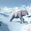 Mammoths Walking Slowly On The Snowy by Elena Duvernay