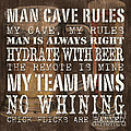 Man Cave Rules Square by Debbie DeWitt