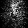 Man Eyes Face Horror Portrait Black And White  by Andy Gimino
