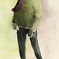 Man in a Green Jacket Fashion Illustration Art Print by Beverly Brown Prints