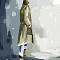 Man in a Trench Coat Fashion Illustration Art Print by Beverly Brown Prints