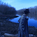 Man In Fedora By River by Jill Battaglia
