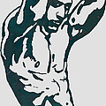 Man Nude Pop Stylised Etching Art Poster  by Kim Wang