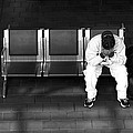 Man On Bench-- Union Station by Harold E McCray