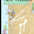 Man On Ladder Painting House Making A Mess by George Booth