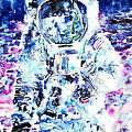Man On The Moon - Watercolor Portrait by Fabrizio Cassetta