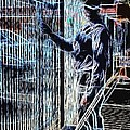 Man Painting Fence / Crayola Effect by Robert Butler