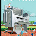Man Stands On His Massive Bbq Grill Which Outputs by Bruce McCall