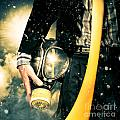 Man With Gas Mask. New Beginning. Skys The Limit by Jorgo Photography - Wall Art Gallery