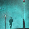 Man With Hat And Overcoat Carrying A Briefcase In Fog by Lee Avison