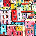 Manarola Colorful Houses Painting Detail by Ana Maria Edulescu