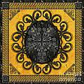 Mandala Obsidian Cross by Bedros Awak