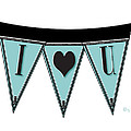 Pennant Deco Blues Streamer Sign I Love You by Cecely Bloom