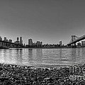 Manhattan And Brooklyn Bridge Fisheye Bw by Michael Ver Sprill