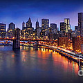 Manhattan At Dawn - Brooklyn Bridge by Lee Dos Santos