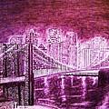 Manhattan At Night Enhanced by Irving Starr