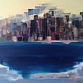 Manhattan Au Decollage De Teterboro by Danielle Landry