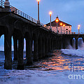 Manhattan Beach Pier Crashing Surf by Vivian Christopher