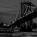 Manhattan Bridge At Dusk - Bw by Dave Hahn