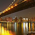 Manhattan Bridge By Night by Barbara Zahno