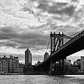 Manhattan Bridge In Bw by Lindley Johnson