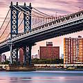 Manhattan Bridge Under A Purple Sunset by Mihai Andritoiu