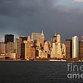 Manhattan Skyline At Sunset by Deborah Benbrook