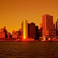 Manhattan Skyline At Sunset by Monique's Fine Art