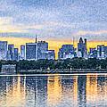 Manhattan Skyline From Central Park Reservoir Nyc Usa by Liz Leyden