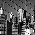 Manhattan Through The Brooklyn Bridge by Liz Leyden