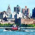 Manhattan - Tugboat Against Manhattan Skyline by Susan Savad
