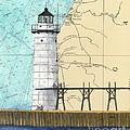 Manistee N Pierhead Lighthouse Mi Nautical Chart Map Art by Cathy Peek