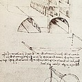 Manuscript B F 36 R Architectural Studies Development And Sections Of Buildings In City With Raise by Leonardo Da Vinci