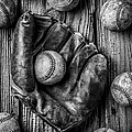 Many Baseballs In Black and White by Garry Gay